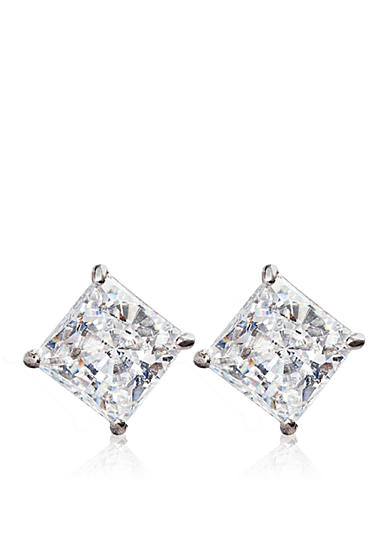 Belk & Co. 14k White Gold 2.00 ct. t.w. Princess Cut Cubic Zirconia Earrings