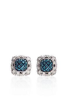 Belk & Co. Blue and White Diamond Earrings in Sterling Silver