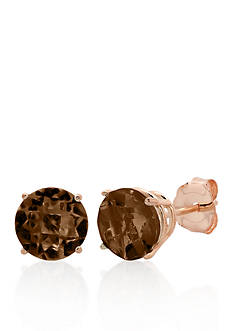 Belk & Co. 10k Rose Gold Smokey Quartz Stud Earrings