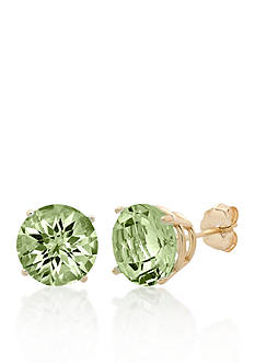 Belk & Co. 10k Yellow Gold Green Amethyst Stud Earrings