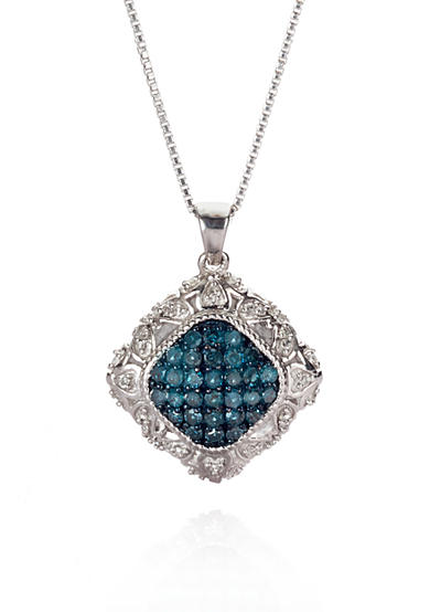 Belk & Co. Blue and White Diamond Pendant in Sterling Silver