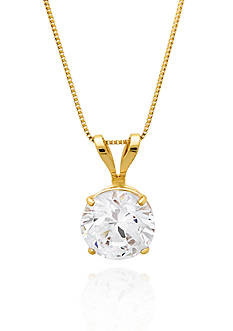 Belk & Co. 14k Yellow Gold 6mm Cubic Zirconia Pendant