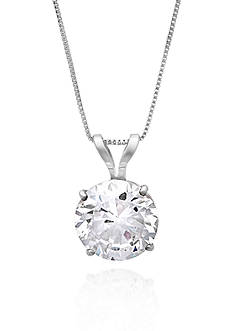 Belk & Co. 14k White Gold 7mm Cubic Zirconia Pendant