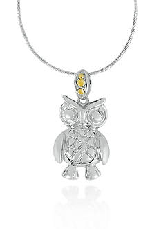 Belk & Co. Sterling Silver with 14k Yellow Gold Owl Pendant