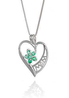 Belk & Co. Sterling Silver Emerald and Diamond Mom Heart Pendant