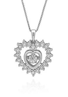 Move My Heart Moving Diamond Double Heart Pendant set in Sterling Silver