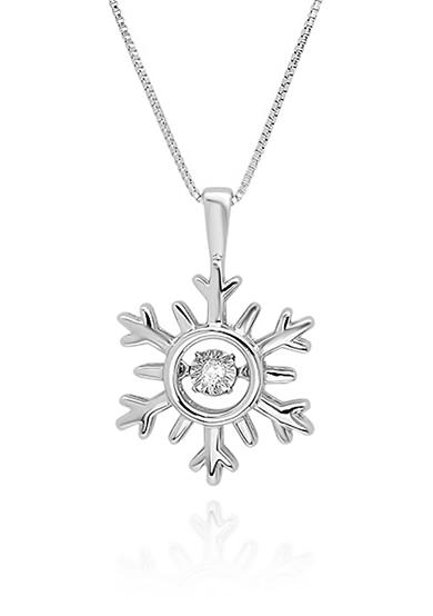 Move My Heart Diamond Accent Snowflake Pendant in Sterling Silver