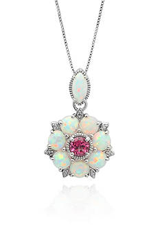 Belk & Co. Created Opal and Pink Topaz Pendant in Sterling Silver