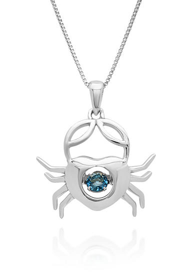 Move My Heart Sterling Silver Moving London Blue Topaz Crab Pendant