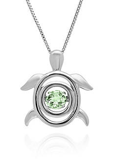 Move My Heart Sterling Silver Moving Green Amethyst Turtle Pendant