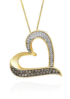 Belk & Co. Mocha & White Diamond Heart Pendant in 10k Yellow Gold