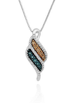 Belk & Co. Blue and Mocha Diamond Illusion Pendant in Sterling Silver