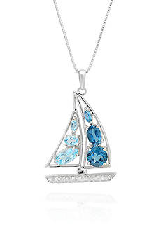 Belk & Co. Blue Topaz and Diamond Accent Sailboat Pendant in Sterling Silver