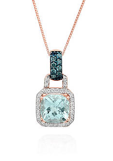 Belk & Co. Aquamarine, Blue Diamond, and White Diamond Pendant in 10k Rose Gold