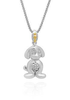 Belk & Co. Dog Pendant in Sterling Silver and 14k Yellow Gold