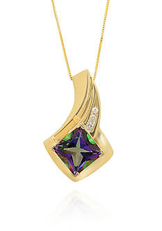 Belk & Co. Mystic Fire Topaz and Diamond Accent Pendant in 10k Yellow Gold
