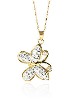 Belk & Co. Swarovski Crystal Butterfly Pendant in 10k Yellow Gold