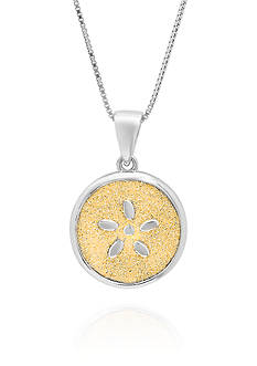 Belk & Co. Sterling Silver Gold Sparkle Round Pendant