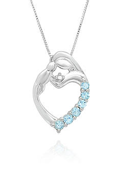 Belk & Co. Blue Topaz & Diamond Accent Mom & Child Heart Pendant set in Sterling Silver