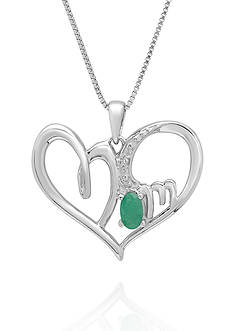 Belk & Co. Emerald and Diamond Heart Pendant in Sterling Silver