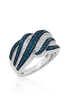 Belk & Co. Blue & White Diamond Ring in Sterling Silver