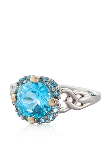 Belk & Co. Sterling Silver with 14k Yellow Gold Blue Topaz Cluster Ring