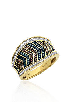 Belk & Co. Multi Color Diamond Ring in 10k Yellow Gold