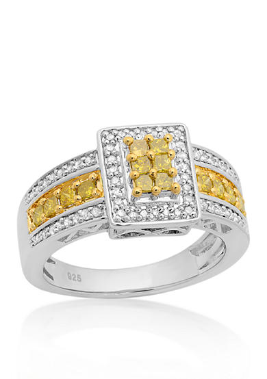 Belk & Co. Yellow And White Diamond Ring in Sterling Silver