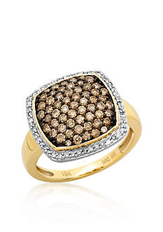 Belk & Co. Brown and White Diamond Ring in 10k Yellow Gold