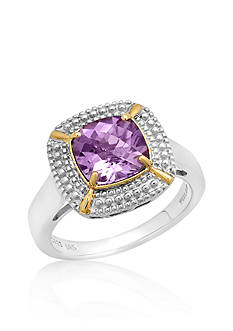 Belk & Co. Sterling Silver with 14k Yellow Gold Amethyst Ring