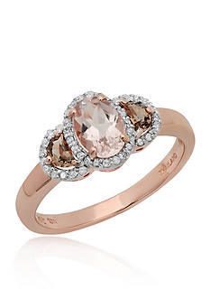 Belk & Co. Morganite, Smoky Quartz, and Diamond Ring in 10k Rose Gold