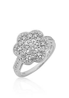 Belk & Co. Diamond Flower Ring in Sterling Silver