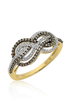 Belk & Co. Mocha Diamond and White Diamond Ring in 10k Yellow Gold
