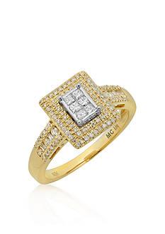 Belk & Co. Diamond Rectangular Ring in 10k Two Tone Gold