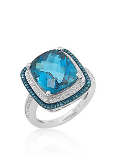 Belk & Co. London Blue Topaz, Blue and White Diamond Ring in Sterling Silver