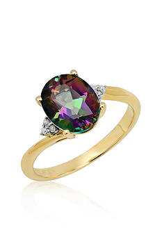 Belk & Co. Mystic Fire Topaz and Diamond Ring in 10k Yellow Gold