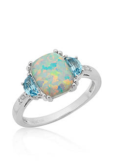 Belk & Co. Created Opal, Blue Topaz, and Diamond Ring in Sterling Silver