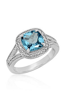 Belk & Co. Blue Topaz and Diamond Accent Ring in Sterling Silver