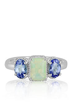 Belk & Co. Sterling Silver Opal and Tanzanite Three Stone Ring