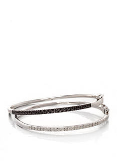 Belk & Co. Black and White Diamond Bangle Set in Sterling Silver
