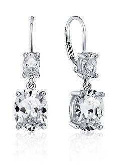 Belk & Co. Platinum Plated Sterling Silver Cubic Zirconia Drop Earrings