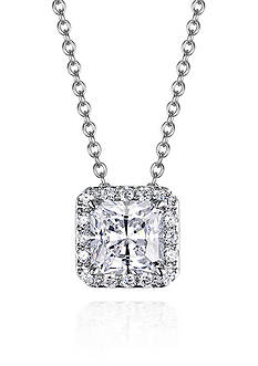 Belk & Co. Platinum Plated Sterling Silver Cubic Zirconia Pendant