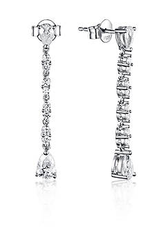 Belk & Co. Platinum Plated Sterling Silver Cubic Zirconia Drop Earrings
