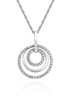 Belk & Co. Platinum Plated Sterling Silver Cubic Zirconia Three Circle Pendant