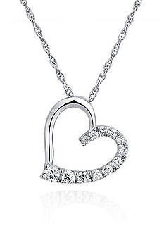 Belk & Co. Platinum Plated Sterling Silver Cubic Zirconia Heart Pedant