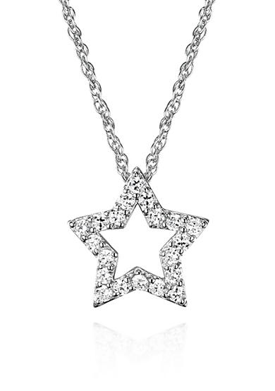 Belk & Co. Platinum Plated Sterling Silver Cubic Zirconia Star Pendant