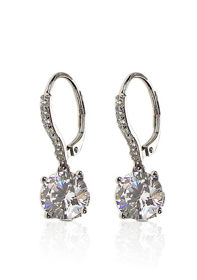Belk & Co. Platinum Plated Sterling Silver Cubic Zirconia Leverback Earrings