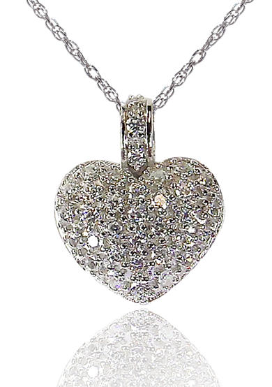 Belk & Co. Platinum Plated Sterling Silver Cubic Zirconia Heart Pendant