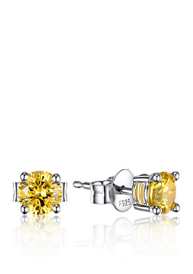 Belk & Co. Platinum Plated Sterling Silver Yellow Cubic Zirconia Earrings