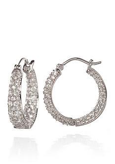 Belk & Co. Platinum Plated Sterling Silver Cubic Zirconia Hoop Earrings